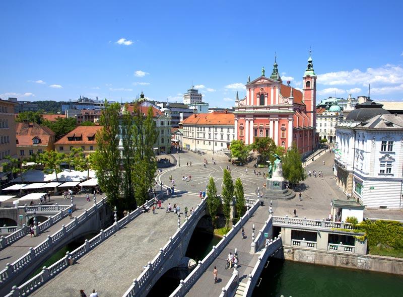Drei Brücken in in Ljubljana